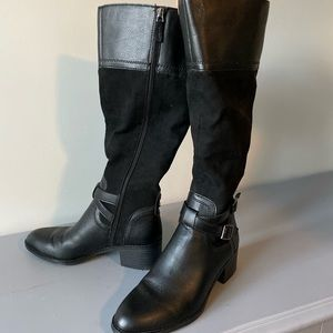Shoes - Vegan leather and suede black riding boots